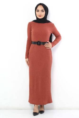 Tesettür Dünyası - Kemerli Triko Elbise TSD1742 Kiremit