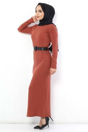 Tesettür Dünyası - Kemerli Triko Elbise TSD1742 Kiremit (1)
