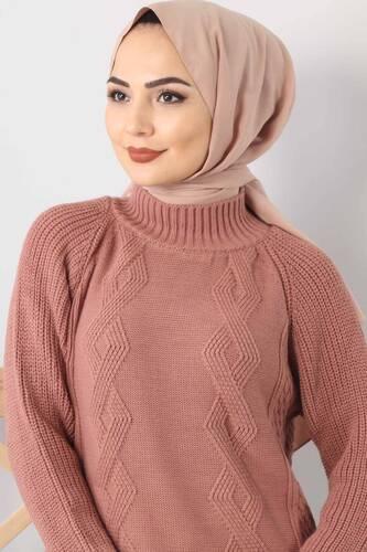 Knit Pattern Knitwear Sweater TSD3648 Dried Rose - Thumbnail