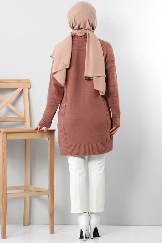 Knit Pattern Knitwear Sweater TSD3648 Dried Rose
