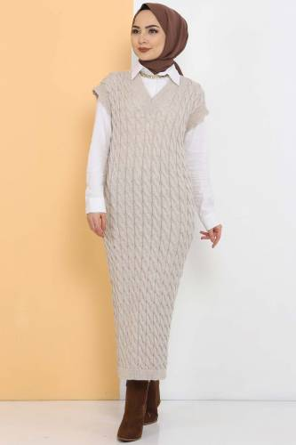 Tesettür Dünyası - Knit Pattern Sweater Dress TSD2469 Beige