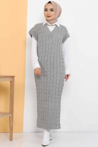 Tesettür Dünyası - Knit Pattern Sweater Dress TSD2469 Gray