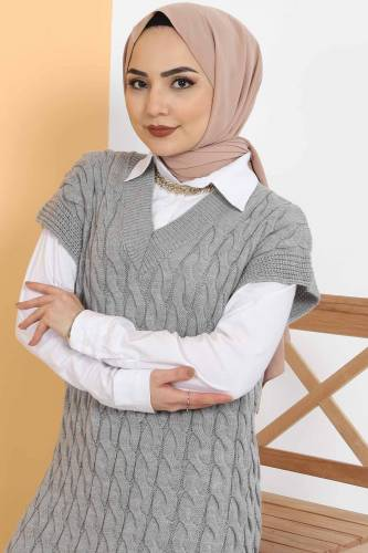Tesettür Dünyası - Knit Pattern Sweater Dress TSD2469 Gray (1)