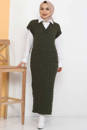 Tesettür Dünyası - Knit Pattern Sweater Dress TSD2469 Khaki