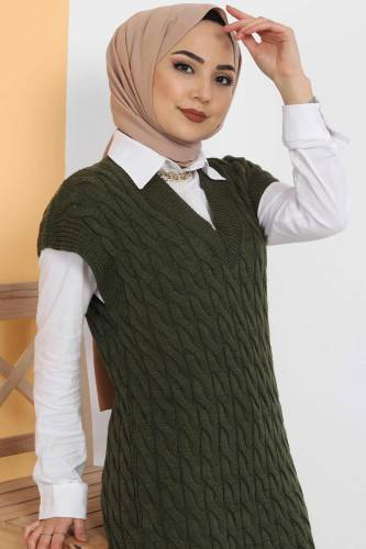 Tesettür Dünyası - Knit Pattern Sweater Dress TSD2469 Khaki (1)