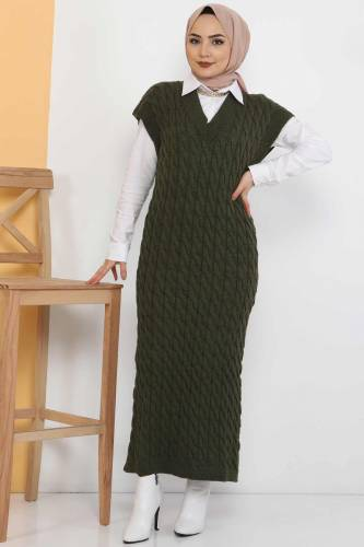 Knit Pattern Sweater Dress TSD2469 Khaki - Thumbnail
