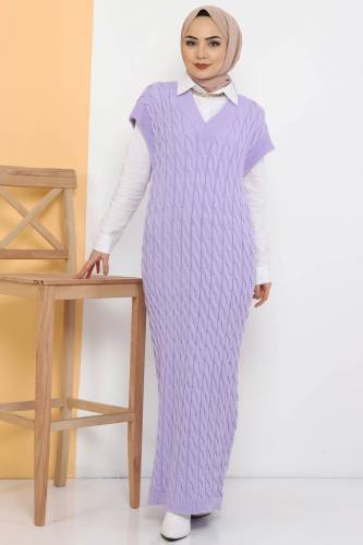 Tesettür Dünyası - Knit Pattern Sweater Dress TSD2469 Lilac