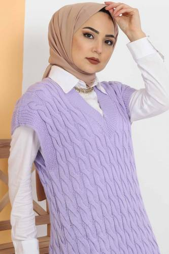 Tesettür Dünyası - Knit Pattern Sweater Dress TSD2469 Lilac (1)