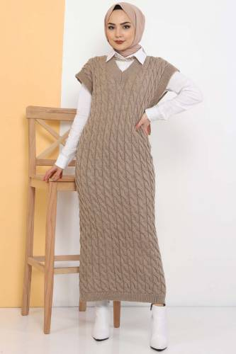 Tesettür Dünyası - Knit Pattern Sweater Dress TSD2469 Mink