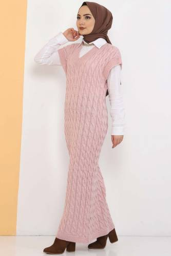 Tesettür Dünyası - Knit Pattern Sweater Dress TSD2469 Powder