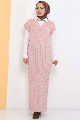 Knit Pattern Sweater Dress TSD2469 Powder - Thumbnail