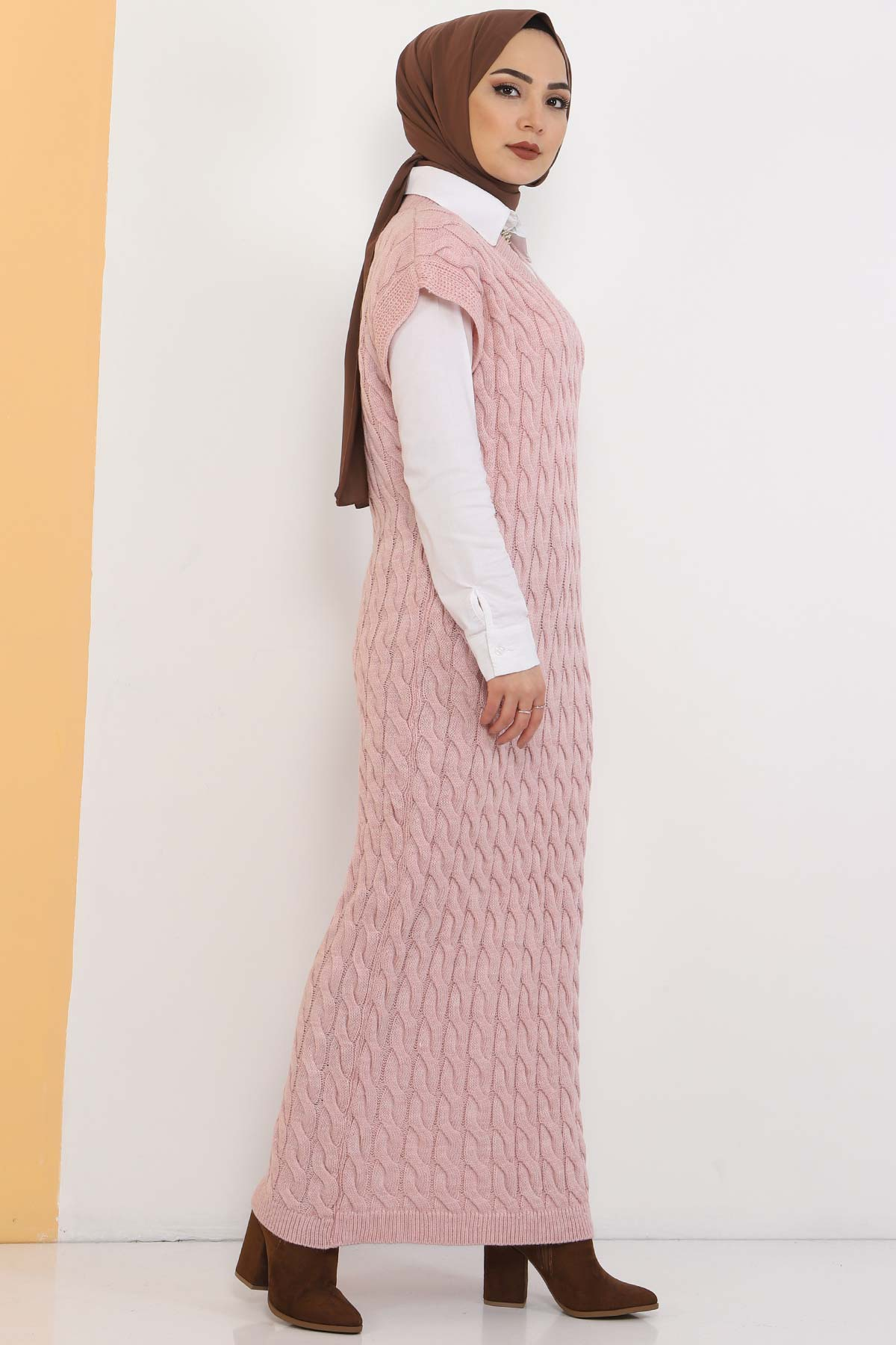 Knit Pattern Sweater Dress TSD2469 Powder