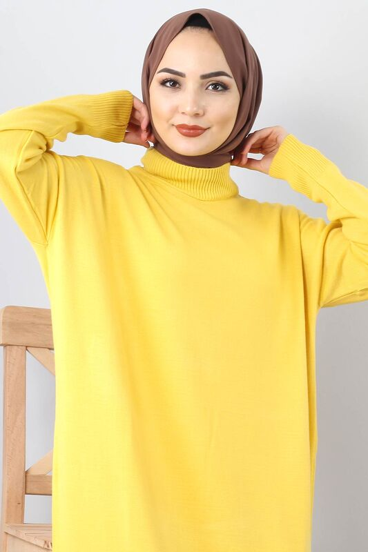 Knitwear Hijab Dress TSD0711 Yellow