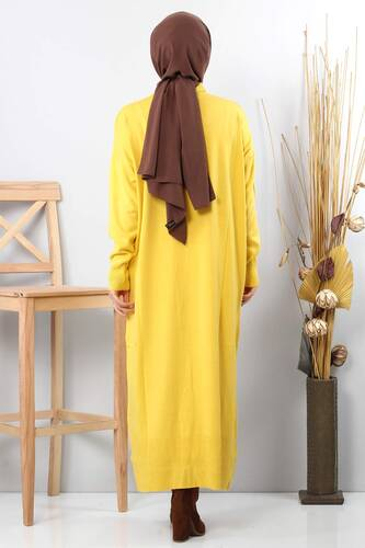 Knitwear Hijab Dress TSD0711 Yellow - Thumbnail