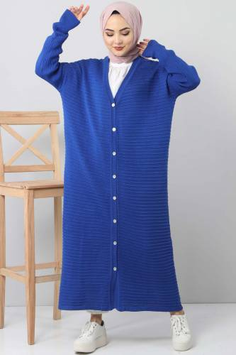 Tesettür Dünyası - Knitwear Open Sleeve Sweater TSD1812 Blue