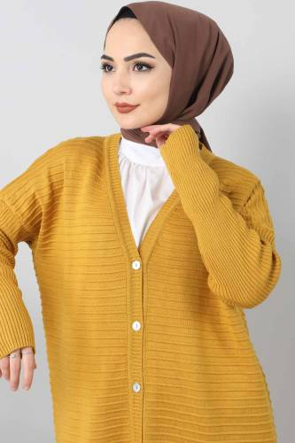 Tesettür Dünyası - Knitwear Open Sleeve Sweater TSD1812 Dark Yellow (1)