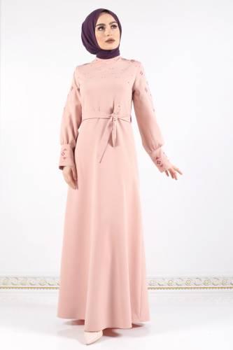 Tesettür Dünyası - Kol ve Manşeti Nakışlı Elbise TSD0312 Pudra