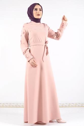 Tesettür Dünyası - Kol ve Manşeti Nakışlı Elbise TSD0312 Pudra (1)