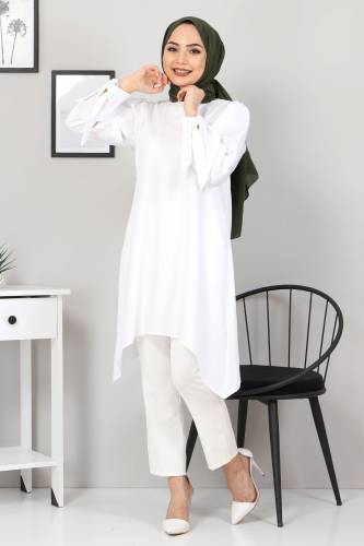 Kolları Bağlamalı Tunik TSD3301 Beyaz - Thumbnail