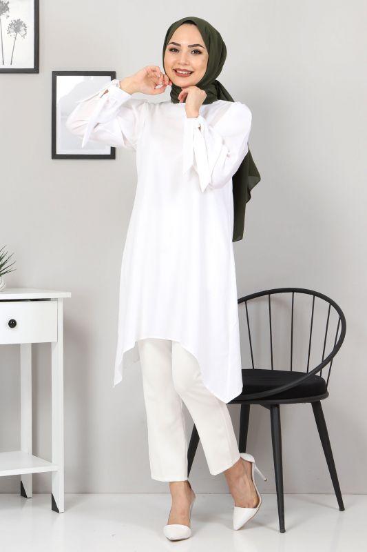Kolları Bağlamalı Tunik TSD3301 Beyaz