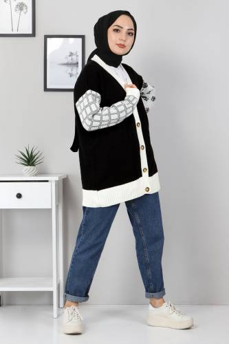 Kolları Desenli Triko Hırka TSD2484 Siyah - Thumbnail