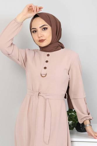 Kolları Düğme Detaylı Tesettür Elbise TSD4401 Bej - Thumbnail