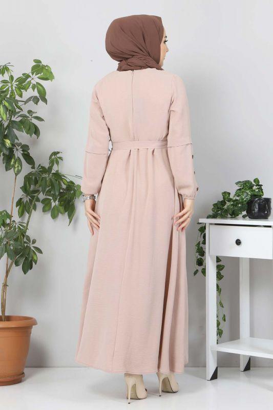 Kolları Düğme Detaylı Tesettür Elbise TSD4401 Bej