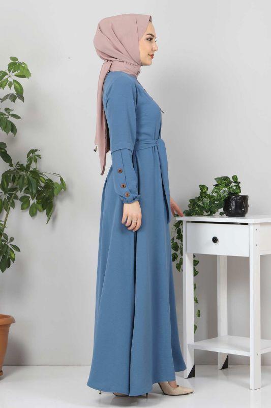 Kolları Düğme Detaylı Tesettür Elbise TSD4401 İndigo
