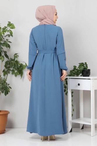 Kolları Düğme Detaylı Tesettür Elbise TSD4401 İndigo - Thumbnail