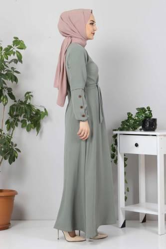 Kolları Düğme Detaylı Tesettür Elbise TSD4401 Mint - Thumbnail