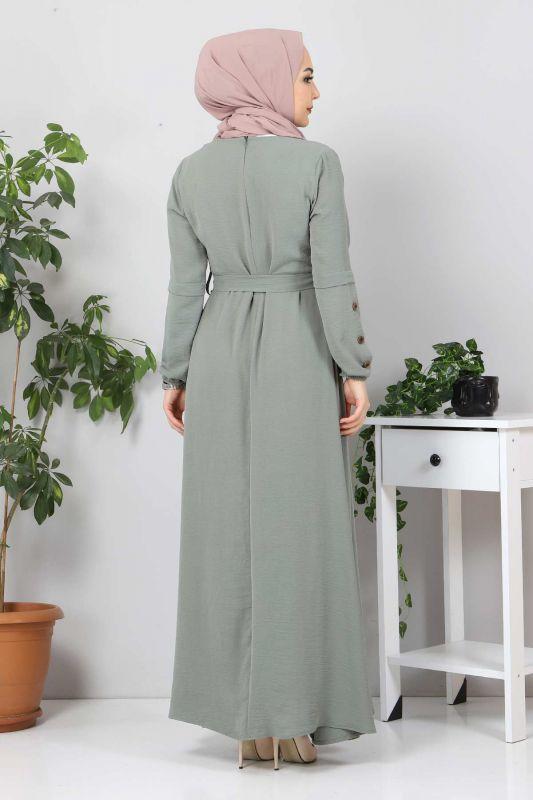 Kolları Düğme Detaylı Tesettür Elbise TSD4401 Mint