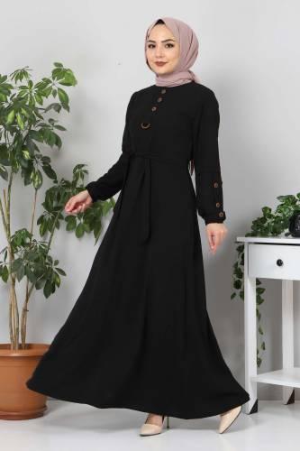 Kolları Düğme Detaylı Tesettür Elbise TSD4401 Siyah - Thumbnail