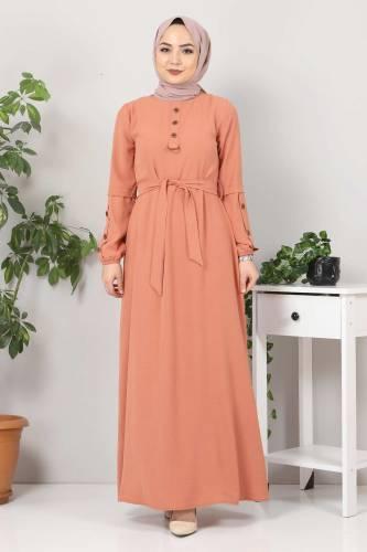 Kolları Düğme Detaylı Tesettür Elbise TSD4401 Somon - Thumbnail