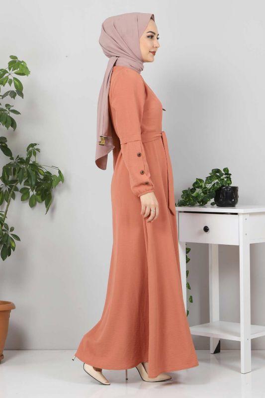 Kolları Düğme Detaylı Tesettür Elbise TSD4401 Somon