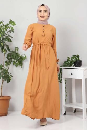 Kolları Düğme Detaylı Tesettür Elbise TSD4401 Tarçın - Thumbnail