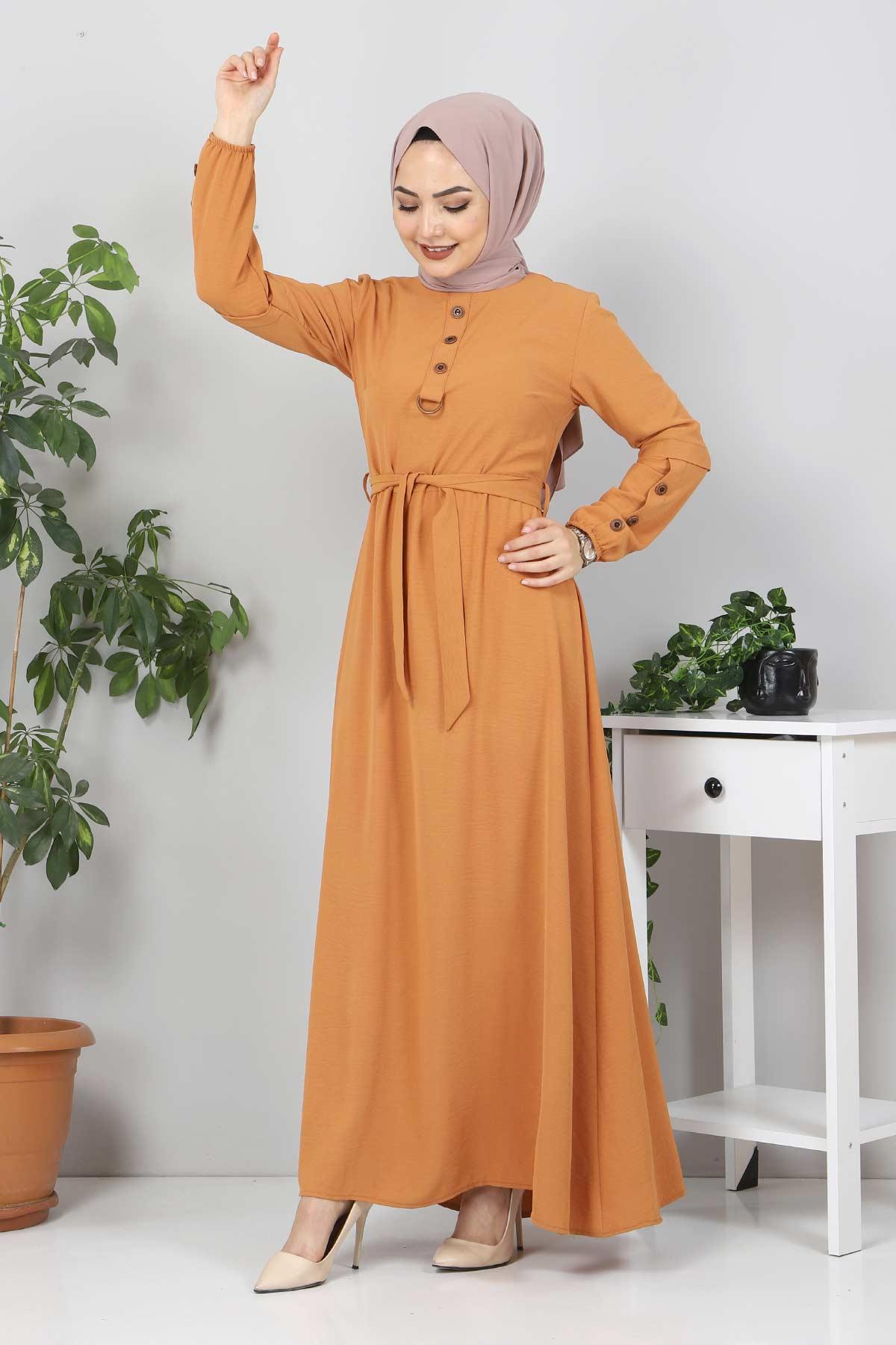 Kolları Düğme Detaylı Tesettür Elbise TSD4401 Tarçın