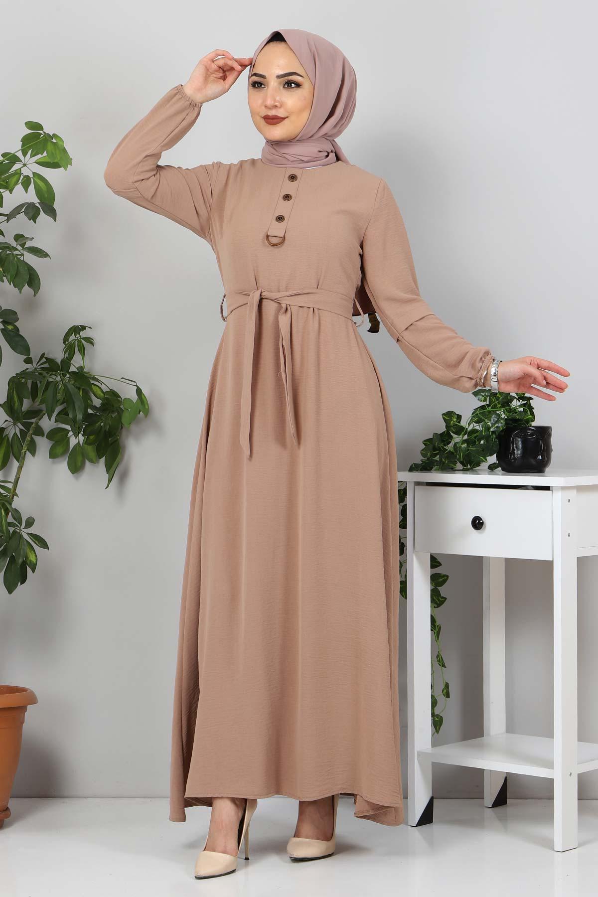 Kolları Düğme Detaylı Tesettür Elbise TSD4401 Vizon