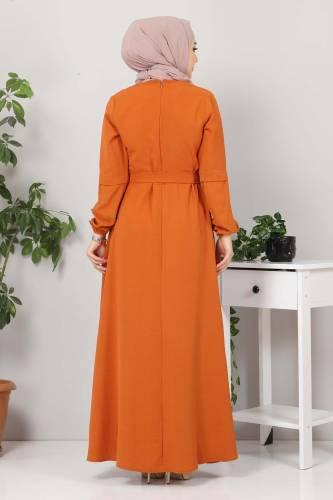 Kolları Düğme Detaylı Tesettür Elbise TSD4401 Kiremit - Thumbnail