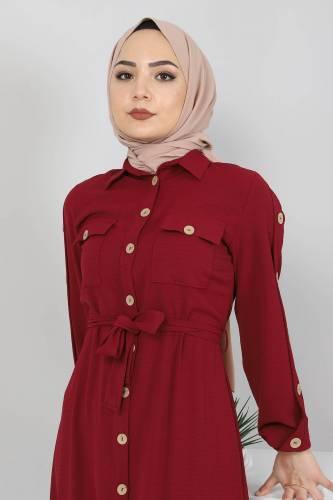 Kolları Düğmeli Ayrobin Elbise TSD0369 Bordo - Thumbnail