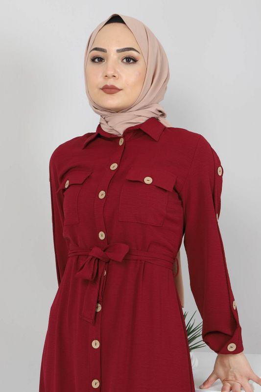 Kolları Düğmeli Ayrobin Elbise TSD0369 Bordo