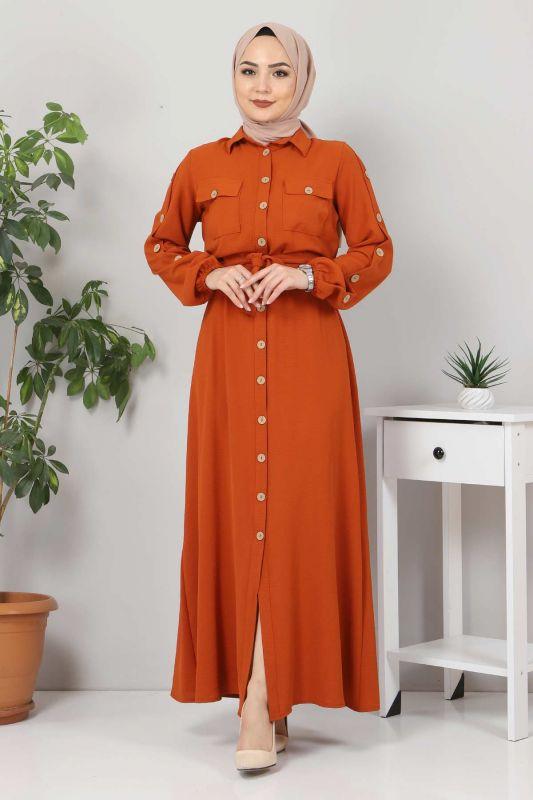 Kolları Düğmeli Ayrobin Elbise TSD0369 Kiremit