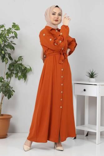 Kolları Düğmeli Ayrobin Elbise TSD0369 Kiremit - Thumbnail