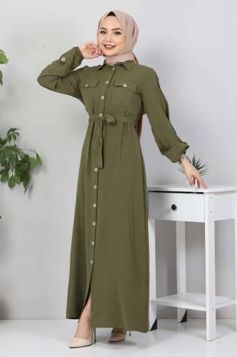 Kolları Düğmeli Ayrobin Elbise TSD0369 Haki - Thumbnail