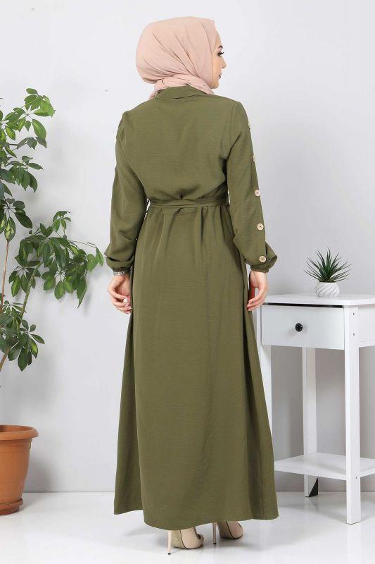 Kolları Düğmeli Ayrobin Elbise TSD0369 Haki