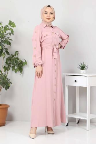 Kolları Düğmeli Ayrobin Elbise TSD0369 Pudra - Thumbnail