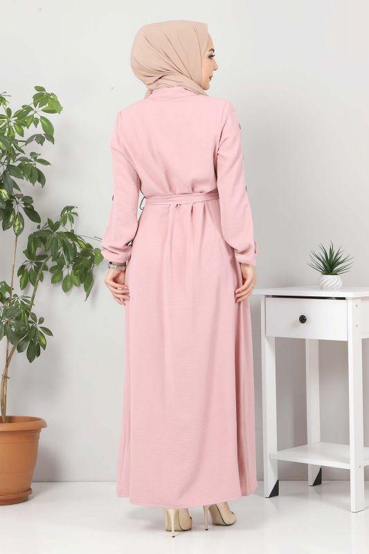 Kolları Düğmeli Ayrobin Elbise TSD0369 Pudra
