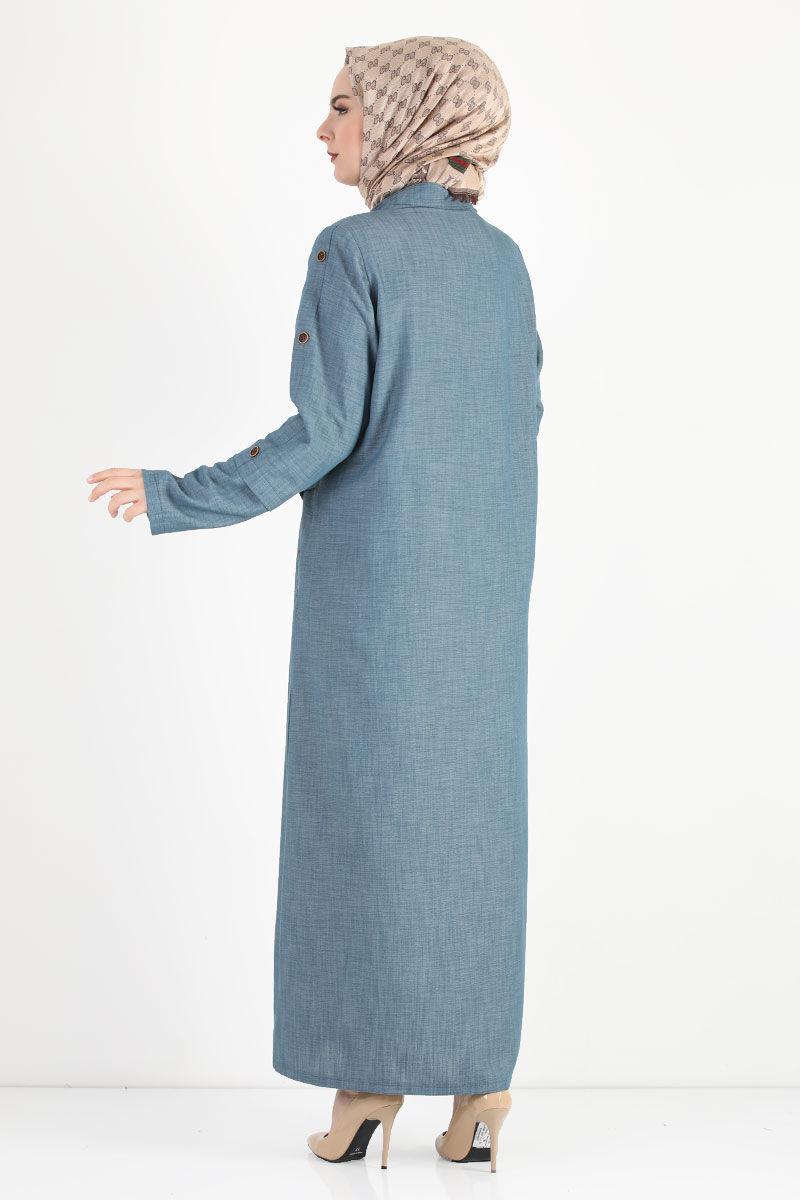 Kolları Düğmeli Büyük Beden Pardesü TSD8889 Açık Mavi