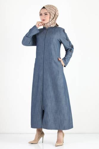 Kolları Düğmeli Büyük Beden Pardesü TSD8889 Koyu Mavi - Thumbnail