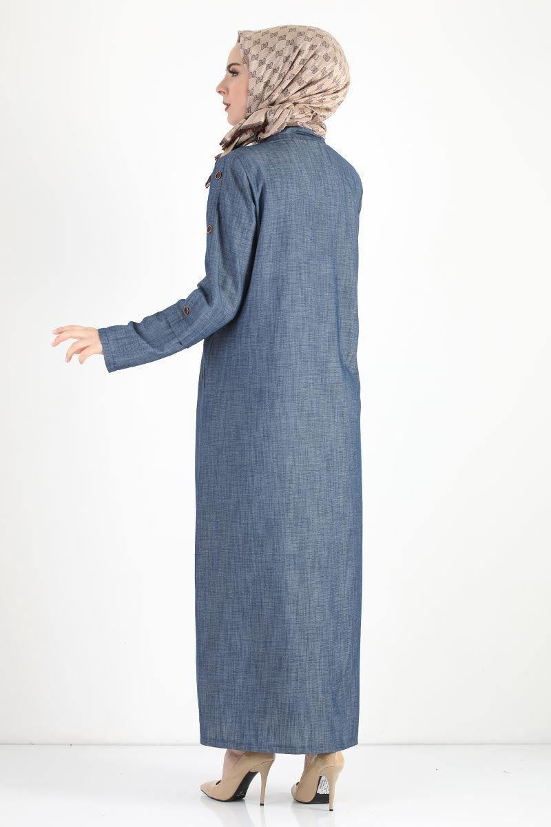 Kolları Düğmeli Büyük Beden Pardesü TSD8889 Koyu Mavi
