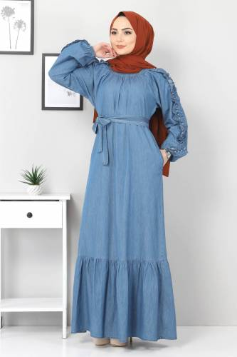 Tesettür Dünyası - Kolları Fırfırlı İncili Kot Elbise TSD0804 Açık Mavi